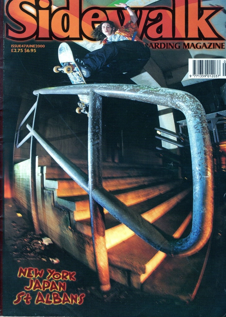 Scott Underdown frontside boardslide. Cover of Sidewalk mag in 2000, photo by Andy Horsley